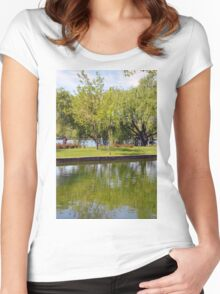 Trees reflected in the water in the park. Women's Fitted Scoop T-Shirt