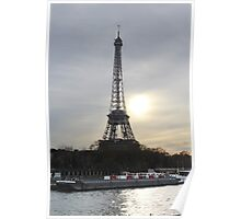 Eiffel Tower With A Sunset Landscape Poster