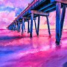 Pensacola Beach Gulf Pier - Coastal Florida Panhandle Sunset by Mark Tisdale