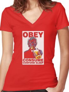 Obey Consume Women's Fitted V-Neck T-Shirt