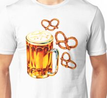 Beer & Pretzel Pattern -Black Unisex T-Shirt