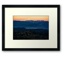 Moonrise in mountains Framed Print