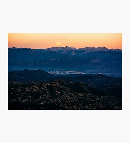 Moonrise in mountains Photographic Print