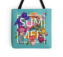 Floral and birds flamingos summer  Tote Bag