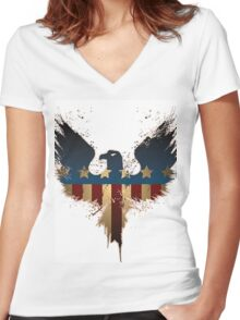 Patriotic Symbol Women's Fitted V-Neck T-Shirt
