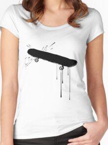 Splatter Skateboard (black) Women's Fitted Scoop T-Shirt