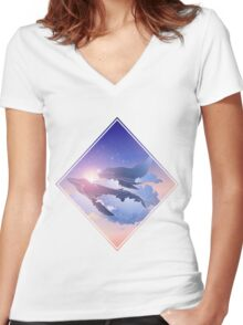 Graphic whales flying in the nigh sky Women's Fitted V-Neck T-Shirt