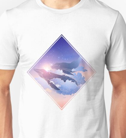 Graphic whales flying in the nigh sky Unisex T-Shirt