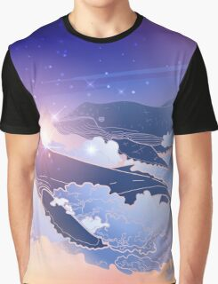 Graphic whales flying in the nigh sky Graphic T-Shirt