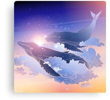 Graphic whales flying in the nigh sky Canvas Print
