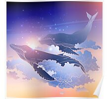 Graphic whales flying in the nigh sky Poster