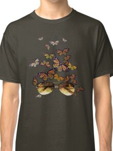 Watercolor monarch butterflies flying out of aviator sunglasses Classic T-Shirt