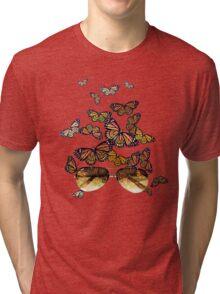 Watercolor monarch butterflies flying out of aviator sunglasses Tri-blend T-Shirt