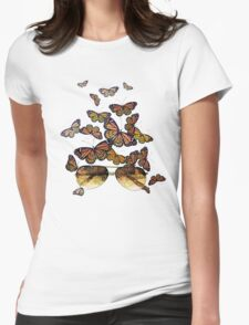Watercolor monarch butterflies flying out of aviator sunglasses Womens Fitted T-Shirt