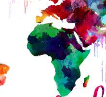 Watercolor Wanderlust World Map  Sticker