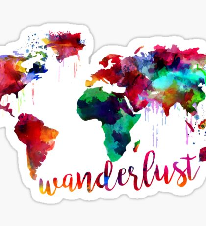 Watercolor Wanderlust World Map  Sticker