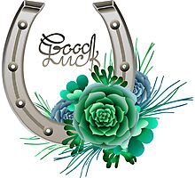 Horseshoes in silver color with succulent design. Photographic Print