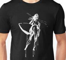 Splatter Surfer Girl (white) Unisex T-Shirt