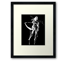 Splatter Surfer Girl (white) Framed Print