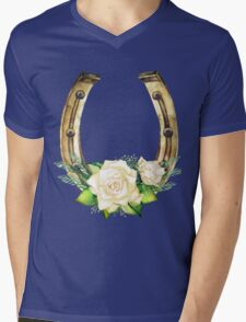 Watercolor horseshoes in golden color with white roses design Mens V-Neck T-Shirt