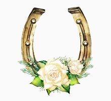 Watercolor horseshoes in golden color with white roses design Unisex T-Shirt