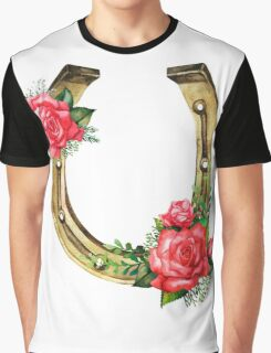 Watercolor horseshoes in golden color with red roses design Graphic T-Shirt