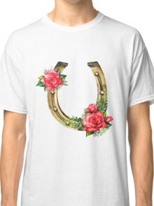 Watercolor horseshoes in golden color with red roses design Classic T-Shirt