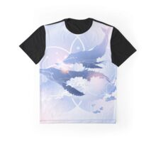 Graphic whales flying in the sky Graphic T-Shirt