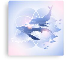 Graphic whales flying in the sky Canvas Print