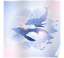 Graphic whales flying in the sky Poster