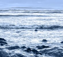 blue toned rocky beal beach Sticker