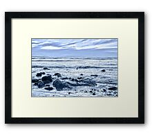 blue toned rocky beal beach Framed Print