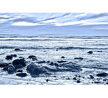 blue toned rocky beal beach Photographic Print