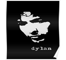 bob dylan black and white decal simple style Poster