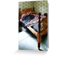 Long Sleeved Dress on Bed Greeting Card
