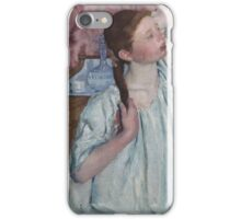 Mary Cassatt - Girl Arranging Her Hair 1886 American Impressionism  iPhone Case/Skin