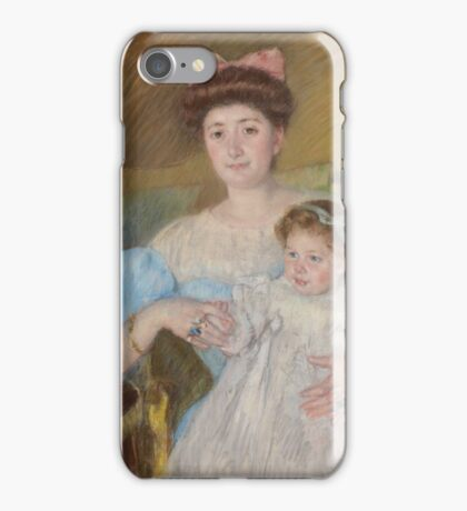 Mary Cassatt - Countess Morel d'Arleux and Her Son  1906 ,  Woman Sitting with a Child , American Impressionism  iPhone Case/Skin