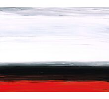 White Horizon - Abstract Red And Black Landscape Art Photographic Print