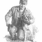 Man & his dog drawing by Mike Theuer