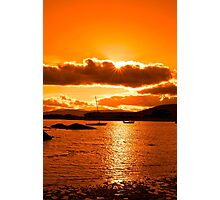 boats in a quiet bay at sunset Photographic Print