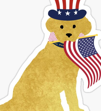 Preppy Patriotic Golden Retriever Sticker
