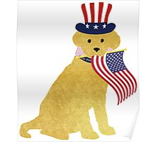 Preppy Patriotic Yellow Lab Poster