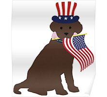 Preppy Patriotic Chocolate Lab Poster