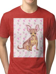 Cute Chihuahua Puppy in Watercolor and Paw Prints Tri-blend T-Shirt
