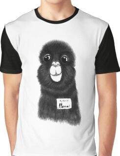 Funny Cute Hand Drawn Llama in Black and White Graphic T-Shirt