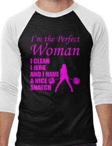 Perfect Woman (Clean, Jerk, Nice Snatch) Men's Baseball ¾ T-Shirt