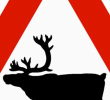 Caution Reindeers, Road Sign, Norway Sticker