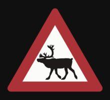 Caution Reindeers, Road Sign, Norway Kids Tee