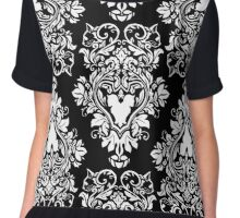 Purr-de-lis Black Chiffon Top