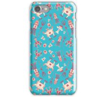 Fun monsters on blue iPhone Case/Skin